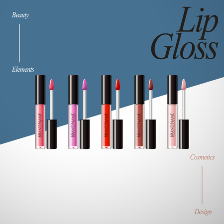 Lip gloss product collection, elegant color set isolated on geometric background in 3d illustration Ilustrace
