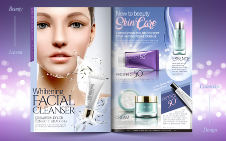 Elegant skin care brochure design, beauty fashion magazine or catalog with attractive model. Vectores