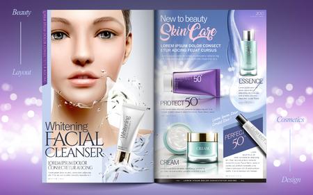 Elegant skin care brochure design, beauty fashion magazine or catalog with attractive model. Vettoriali