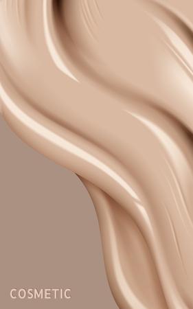 Struttura liquida del fondamento, fondotinta cremoso del tono della pelle nell'illustrazione 3d, sguardo alto vicino di estremo