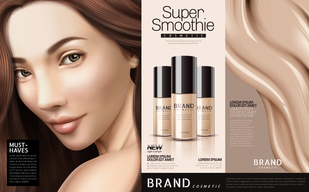 Foundation cosmetic ads, three bottles of foundation with a brunette and creamy texture, 3d illustration