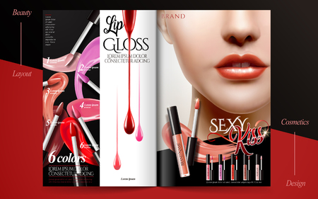 Glamorous fashion brochure, lip gloss products with sexy model on magazine or catalog, 3d illustration