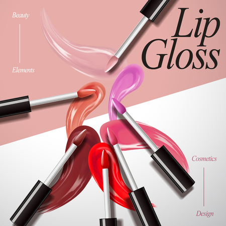 Lip gloss product collection, attractive color smear on the geometric background in 3d illustration, top view