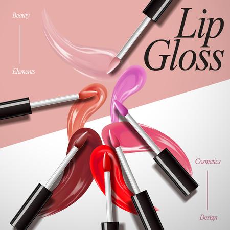 Raccolta del prodotto di lucentezza del labbro, sbavatura attraente di colore sui precedenti geometrici nell'illustrazione 3d, vista superiore