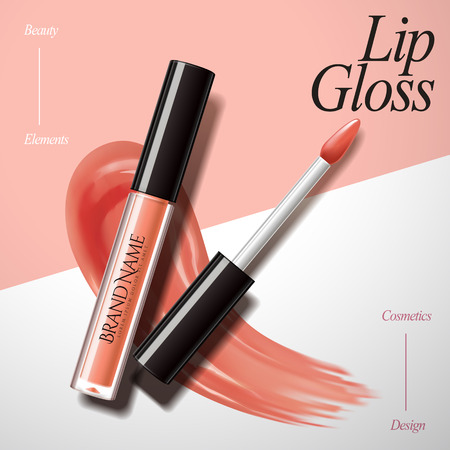 Encantadores elementos de diseño de brillo de labios, producto con textura de frotis aislado sobre fondo geométrico en la ilustración 3d, color melocotón