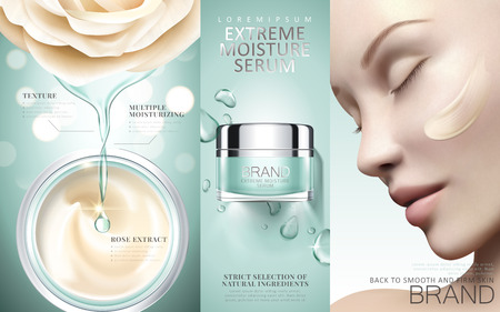 Extreme moisture serum ads, watering cosmetic product with essence dripping from flower, elegant model with cream on her face in 3d illustration