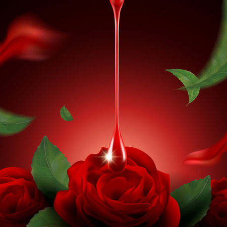 Romantic red rose background, red glossy liquid dripping from top with red roses and petals in 3d illustration
