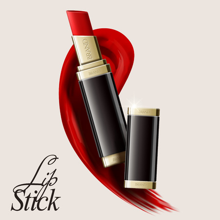 Lip stick mockup, cosmetic template in 3d illustration with smear red texture