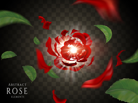 Scattered red rose elements, glitter red petals isolated on transparent background in 3d illustration