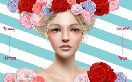 Trendy cosmetic model with perfect makeup and floral decorated hair in 3d illustration, stripe background Çizim