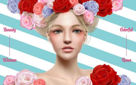 Trendy kosmetisch model met perfecte make-up en bloemen verfraaid haar in 3d illustratie, streepachtergrond