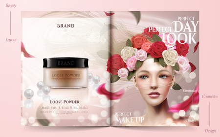 Romantic wedding magazine, loose powder ads with beautiful bride model decorated with floral veil in 3d illustration, soft pink background