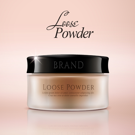 Loose powder mockup, cosmetic package design in 3d illustration, matte container
