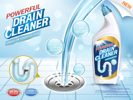 Drain cleaner ads, blue liquid pouring into clog with glittering effect in 3d illustration