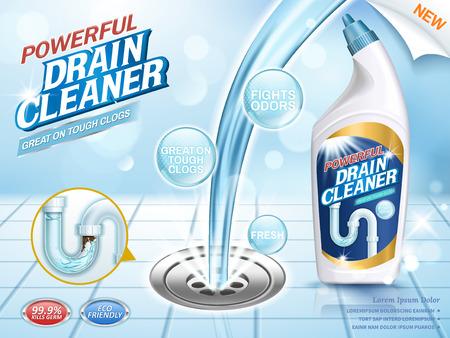 Drene anuncios más limpios, verter líquido azul en la obstrucción con efecto brillante en la ilustración 3d