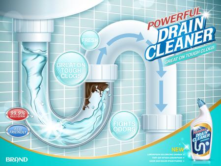 Drene anuncios más limpios, detergente para tuberías de agua con una sección clara de tubos en la ilustración 3D