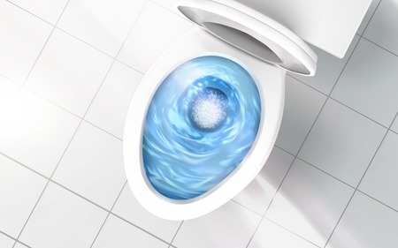 Top view of toilet bowl, blue detergent flushing in it, 3d illustration