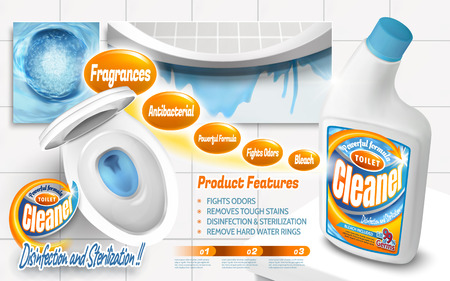 Toilet cleaner ads, powerful detergent product with top view of toilet bowl with blue liquids in 3d illustration
