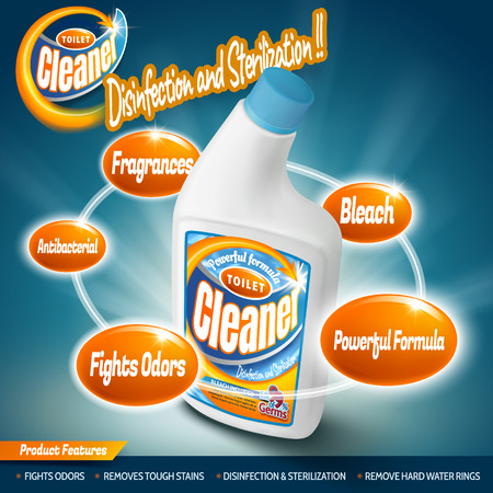 anti bacterial soap: Toilet cleaner container mockup, detergent package design with several efficacies in 3d illustration