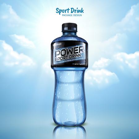condensation: Sport drink package design, blue bottle isolated on blue sky background in 3d illustration Illustration