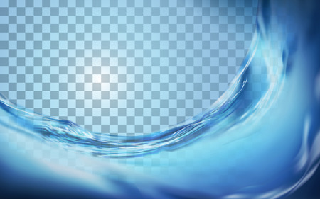 Flowing liquid design element, clear water surface isolated on translucent background in 3d illustration