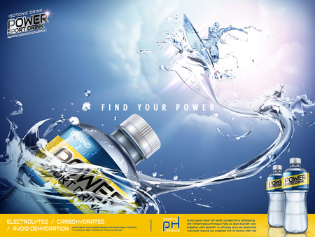 Sport drink ads, energetic athlete surfing in the air with splashing waves in 3d illustration, sport drink package design