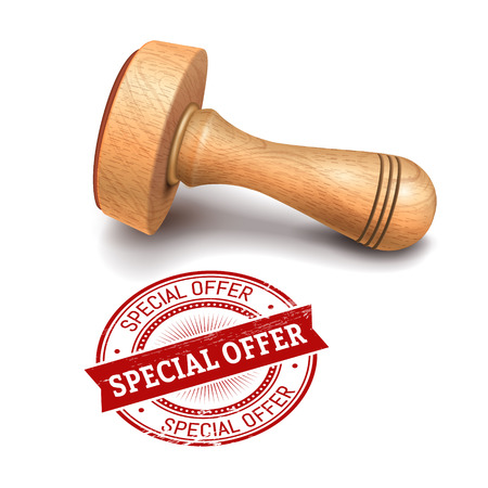 wooden post: illustration of wooden round stamp with special offer text Illustration