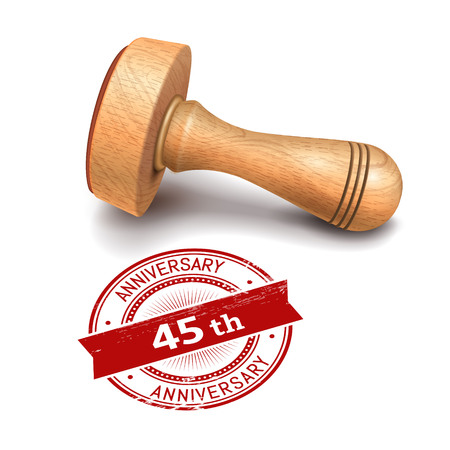 45th: illustration of wooden round stamp with 45th anniversary text