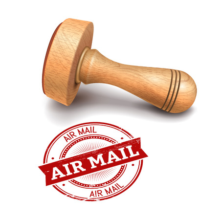 illustration of wooden round stamp with air mail text