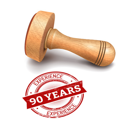 advantages: illustration of wooden round stamp with 90 years experience text