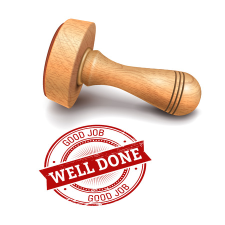 illustration of wooden round stamp with well done text