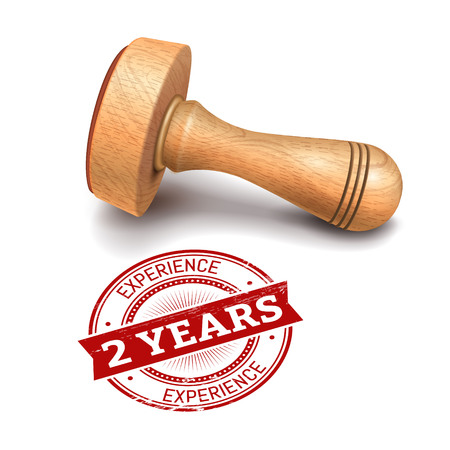 advantages: illustration of wooden round stamp with 2 years experience text
