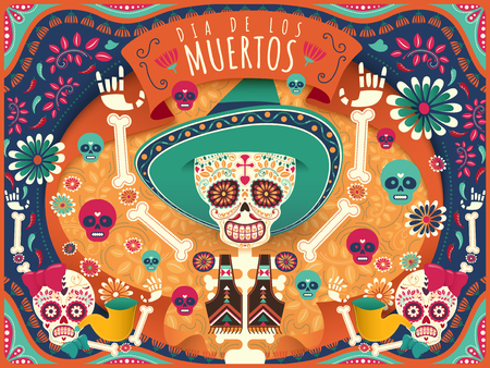 Cheerful Day of the Dead poster, colorful skeleton and skulls dancing happily in orange and turquoise tone in flat style, holidays name in Spanish