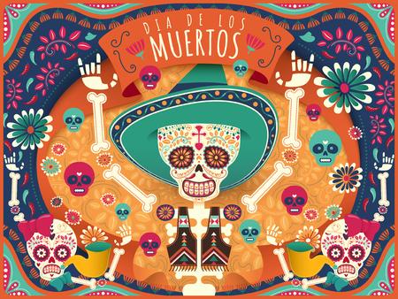 Vrolijke dag van de doden poster, kleurrijke skelet en schedels dansen gelukkig in oranje en turquoise toon in vlakke stijl, vakantie naam in het Spaans