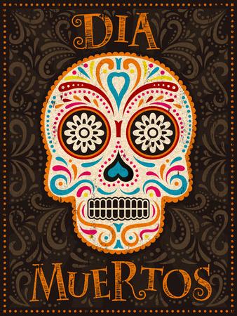Day of the Dead-Plakat, bunt bemalter Schädel mit Blumenmuster, dia muertos ist der spanische Name des Urlaubs