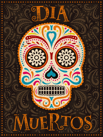 Day of the Dead poster, colorful painted skull with floral pattern, dia muertos is holidays name in Spanish Illustration