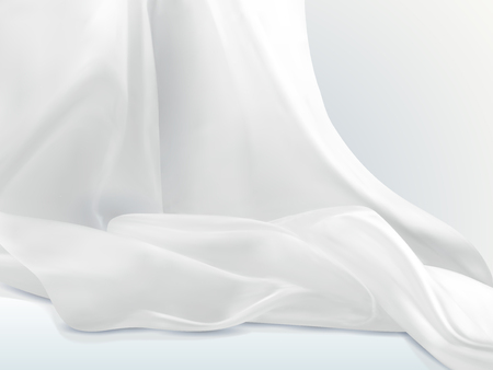 Elegant white satin, soft cloth textile design element in 3d illustration 向量圖像