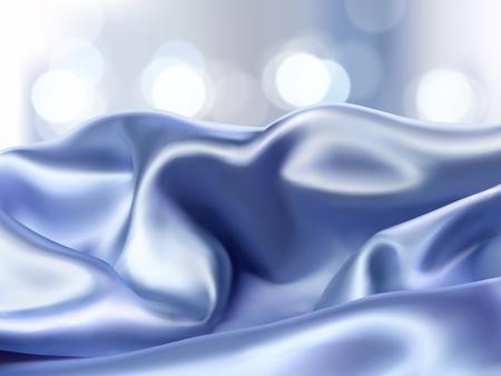 럭셔리 블루 새틴 배경, 광고 또는 3D 그림에서 제품 표시에 대 한 빛나는 bokeh 배경에 부드러운 패브릭