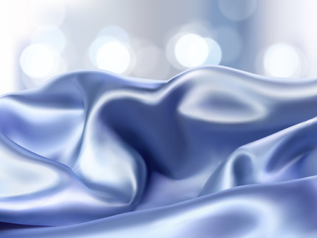 Luxury blue satin background, smooth fabric on glittering bokeh background for ads or product display in 3d illustration
