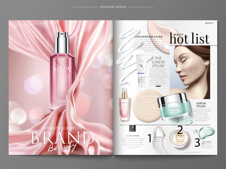Cosmetic magazine template, elegant product ads with pink satin and top view of bottles with texture in 3d illustration