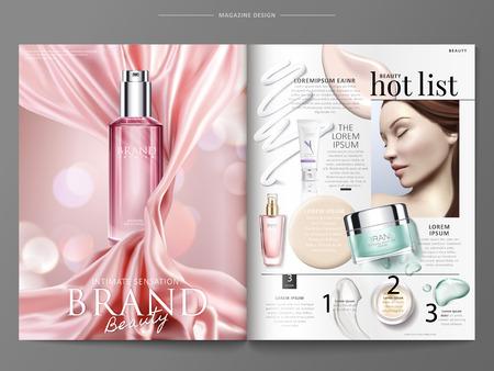 Modèle de magazine cosmétique, annonces de produits élégants avec satin rose et vue de dessus des bouteilles avec texture en illustration 3d