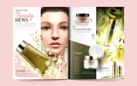 Beauty magazine template, beautiful model with skincare products and purple seed products isolated on light green background in 3d illustration