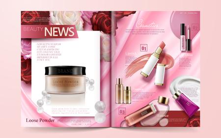 Plantilla de revista de moda, productos de maquillaje de venta caliente aislados sobre fondo rosa floral en ilustración 3d Ilustración de vector