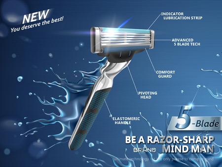 Des annonces de rasoir pour hommes, des lames tranchantes avec des éclaboussures d'eau en illustration 3d. Vecteurs