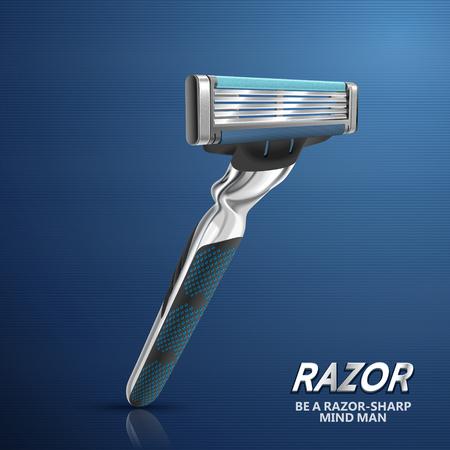 Five blades razor, razor isolated on blue background in 3d illustration Illustration