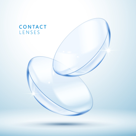 Contact lenses template, clear and close up look at contact lens in 3d illustration