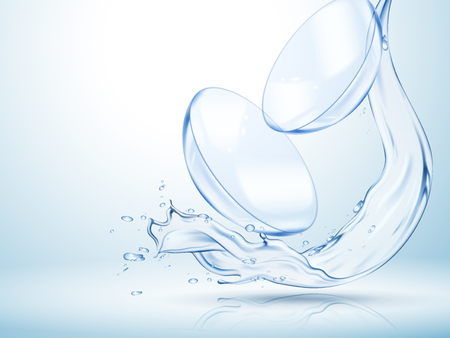 Contact lenses with clear flowing water in 3d illustration isolated on light blue background