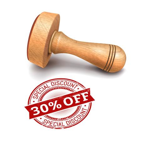 illustratie van houten ronde stempel met 30 procent korting op tekst
