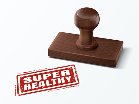 super healthy red text with dark brown wooden stamp, 3d illustration