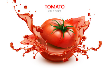 Sliced tomato with splashing juice